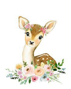 Watercolor Deer, Wreath Watercolor, Watercolor Animals, Deer Wall Art, Name Wall Art, Woodland Animal Nursery, Woodland Animals, Baby Animal Drawings, Cute Drawings
