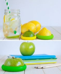 Set of four nesting silicone food savers. Food Huggers create a tight seal by wrapping around your leftover fruits and veggies. Fit your half-cut fruit or veggie into the closest size to save for later. Food Huggers also work over jars and small containers to keep contents fresh.