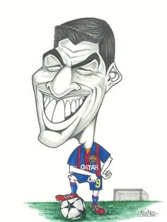 519. Caricature: Louis Suarez Funny Caricatures, Celebrity Caricatures, Barcelona Sports, Fc Barcelona, Ultras Football, Avengers Drawings, Football Players, Football Soccer, Messi