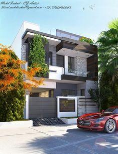 Ideas For Exterior Architecture Facade Modern Interior Design Modern Exterior House Designs, Best Modern House Design, Modern House Facades, Classic House Design, Dream House Exterior, Modern House Plans, 2 Storey House Design, House Gate Design, Kerala House Design