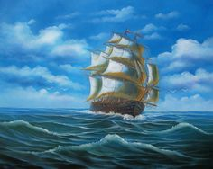 Paintings Of Ships At Sea | Clipper Ships Oil Painting #195:Sailing Pirate Ship