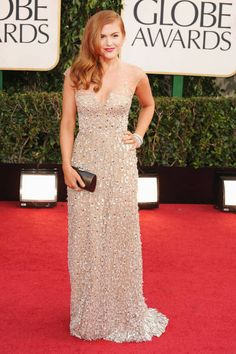 It was nude Reem Acra with a healthy dose of sparkle for the actress.  Read more: Golden Globes 2013 Red Carpet Dresses - Golden Globes 2012 Red Carpet Fashion Pictures  Follow us: @ElleMagazine on Twitter | ellemagazine on Facebook  Visit us at ELLE.com