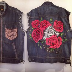 Hand Painted custom denim vest Rose skull