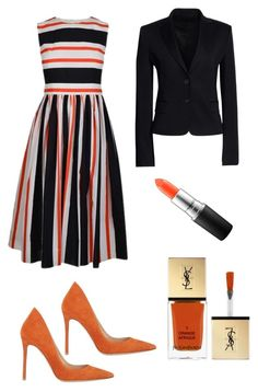 """Orange u glad 2 see me"" by ellenfischerbeauty ❤ liked on Polyvore featuring Gianvito Rossi, Dolce&Gabbana, Yves Saint Laurent, MAC Cosmetics and Canvas by Lands' End"