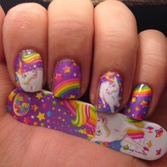 Unicorn nail art. Very Lisa Frank style.