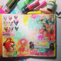Art Journal Page - Still playing:) with my new paints #timholtz...