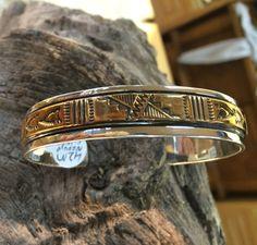 Vintage Navajo Silver and Gold Bracelet by SouthwestFindings