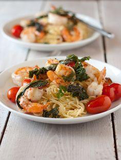 Shrimp & Bacon Pasta with Crispy Kale Recipe