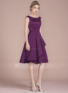 A-Line / Princess Scoop Neck Knee-Length Satin Prom Dress With Cascading Ruffles - Dress Grad Dresses Long, Satin Bridesmaid Dresses, Modest Dresses, Pretty Dresses, Homecoming Dresses, Vestidos Fashion, Fashion Dresses, Princess Line Dress, Knee Length Dresses