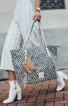 3587872805 The Cabana Beach Geo Tote by Henri Bendel features textured leather  detailing and enough room for a laptop