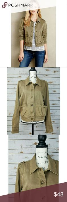 Anthropologie Hei Hei Tan Cropped Military Jacket Excellent condition, no stains or flaws. Has oversized pockets and is a great layering piece.   Reasonable offers accepted, bundles discounted. Lowballers will immediately be declined. No trades. I can ship same or next day. Anthropologie Jackets & Coats