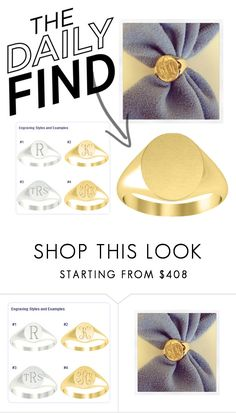 """""""The Daily Find: Gold Signet Ring"""" by debebians ❤ liked on Polyvore"""