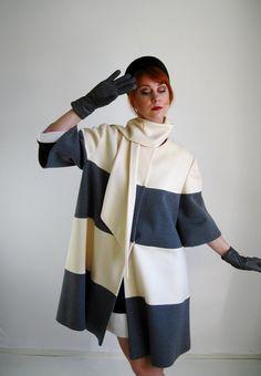 1960s Lilli Ann Wool Mod Swing Coat . Gray And Cream. Mad Men. Winter Fashion. Formal Dress