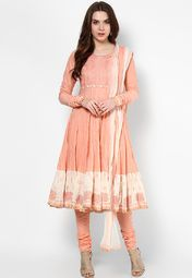 Biba Peach Solid Cotton Churidar Kameez Dupatta Online Shopping Store