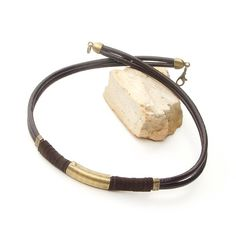 Men leather necklace  Tribal leather necklace for men  by Jullyet, $23.00