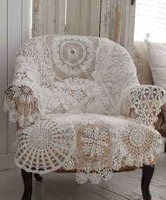 """shabby vintage chair covered in crochet doilies - perfect to cover the chair I rock Mallory in!  And before long there will be another """"bundt"""" in the oven I pray!!!"""