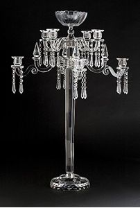 Create a beautiful and elegant setting with this classic crystal candelabra. Configure the candelabra to your event. The candelabra can be configured to be a 8 arm with bowl; 4 arm with bowl; or 5 light. This is very popular item - a best seller! Candelabra Wedding Centerpieces, Chandelier Wedding, Crystal Candelabra, Elegant Centerpieces, Antique Lamps, Antique Gold, Taper Candles, Church Wedding, Floral Arrangements