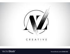 Az brush stroke letter logo design black paint vector image on VectorStock Circle Logo Design, Best Logo Design, Graphic Design Tutorials, Logo Design Inspiration, Web Design Black, Painting Logo, Logos, Architecture Logo, Letter Logo