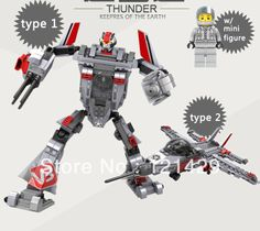 Good quality with original box thunder transform robot 258pcs building blocks children educational toys birthday gift free ship-in Action & ...