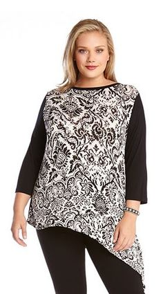 ARTSY BLACK AND WHITE PAISLEY PRINT PLUS SIZE ASYMMETRICAL HEM TOP #Artsy…