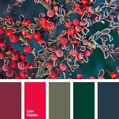 Saturated, rich palette full of deep and expressive colors. Mysterious and at the same time animated. Dark emerald, soot black, khaki, burgundy are wonderf.