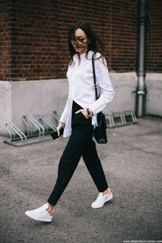 best sneakers 24951 2167a It s pairing your favorite white shirt with some masculine high waisted  trousers and Adidas Stan Smith .