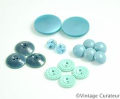 Vintage Teal Buttons Mixed Lot