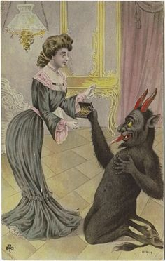 Well, at least he has a way with the ladies. | 21 Vintage Postcards Of Krampus That Will Haunt Your Dreams