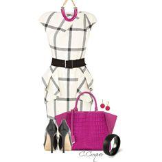 Karen Millen B&W Dress by ccroquer on Polyvore featuring moda, Jimmy Choo, Fendi, INC International Concepts and Karen Millen