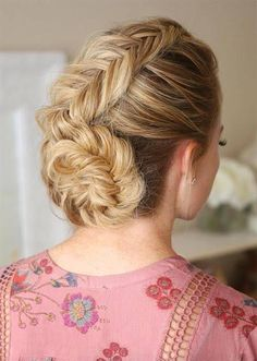 Pretty Holiday Hairstyles Ideas: Fishtail Braided Updo