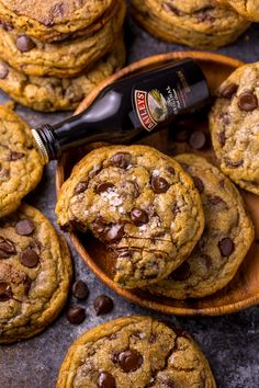 These Baileys Irish Cream Chocolate Chip Cookies are for you! They bake up thick, chewy, and super flavorful! Baileys Irish Cream, Chocolate Chip Cookies, Chocolate Chips, Hot Chocolate, Cookie Recipes, Dessert Recipes, Sweet Desserts, Baking Set, Baking Ideas