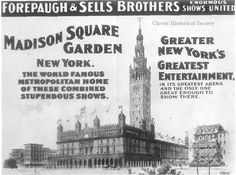 Forepaugh & Sells Brothers lithograph, Madison Square Garden. Bandwagon, Vol. 8, No. 1 (Jan-Feb), 1964, p. 15.