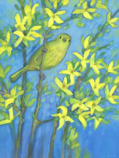 Warbler and Forsythia Original Oil Painting, a little warbler nestled in forsythia, Bird Watcher Gift, Happy Spring Bird Painting, Fox Painting, Heart Painting, Fox Art, Bird Art, Forsythia Bush, Woodland Art, Hedgehog Art, Fox Illustration, Spring Birds
