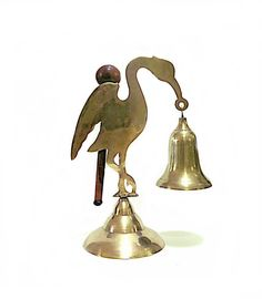 Brass Flamingo Dinner Bell With Striker 1970s by CoconutRoad, $36.00