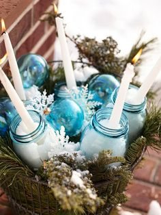 Most Fabulous Blue Christmas Decorating IdeasThere are so many Christmas decoration ideas you can do this year to celebrate the holidays. In fact, there are too many decoration ideas out there that it Blue Christmas, All Things Christmas, Winter Christmas, Vintage Christmas, Christmas Holidays, Winter Porch, Xmas, Natural Christmas, Christmas Porch