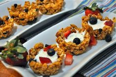 Almond Honey Granola Cups with Yogurt and Berries