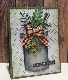 Christmas by card crazy - Cards and Paper Crafts at Splitcoaststampers Christmas Cards 2017, Xmas Cards, Holiday Cards, Stampinup Christmas Cards, Cards Diy, Handmade Christmas, Christmas Crafts, Christmas Tree, Mason Jar Cards