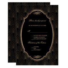 Charm Great Gatsby Vintage Art Deco Wedding RSVP Card - wedding invitations diy cyo special idea personalize card
