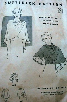 Butterick 4559 | 1930s One-sleeve draped wrap and a cape