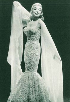 Actress Edie Adams in a Don Loper mermaid gown. c.1950s