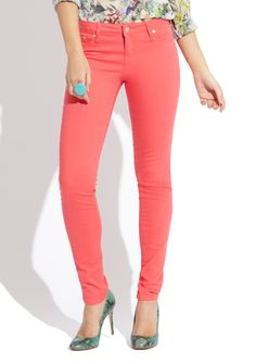 Thinking of Spring!  I love these TRACTOR JEANS (Basic Skinny Jean) in Tropical Punch!!  $29.22 on #ideeli