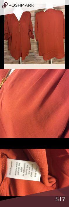 Orange zipper blouse NWT flowy top in a dark orange. Tops Blouses