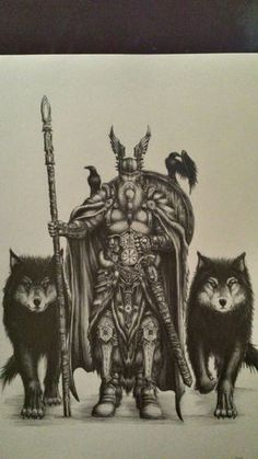#odin #Odin #norse #mythology #god #allfather #fanart #drow #dibujo # sketch #vikings #geri #freki #muninn #huginn