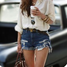 Casual white button up and high waisted jean shorts