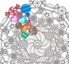 Candy Mandala! Etsy listing at https://www.etsy.com/listing/241828857/mandala-coloring-page-round-of-sweets