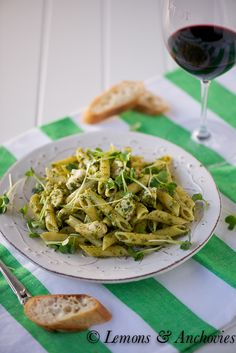 Penne with Chicken and Pistachio Pasta.