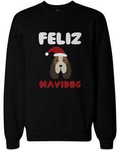 Feliz Navidog Christmas Sweatshirts Funny Beagle Holiday Pullover Fleece Sweaters