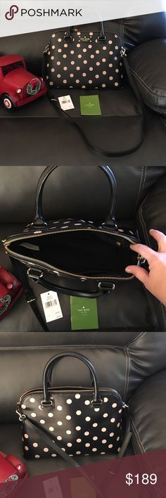 100% Authentic Kate Spade Small Rachelle Purse Excellent like new condition. Only carried for 3 to 4 weeks. No stains or tears. 100% authentic. Black with beige/tan polka dots. Measures about 9 inches deep inside purse, length is about 13 inches across bottom and 13 across top of purse. Purse has zip closer. Handle or strap carry. Handle had about a 6 inch drop. Style Small Rachelle, Wellesley Printed. WKRU3844. Blk/dcobge (286).   Smoke free home. Comes with tags. kate spade Bags Shoulder…