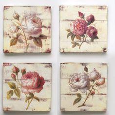 Cuadros flores, madera patina    Medidas: 25x25x3
