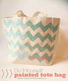 Creative Carmella: DIY Chevron Painted Tote Bag....